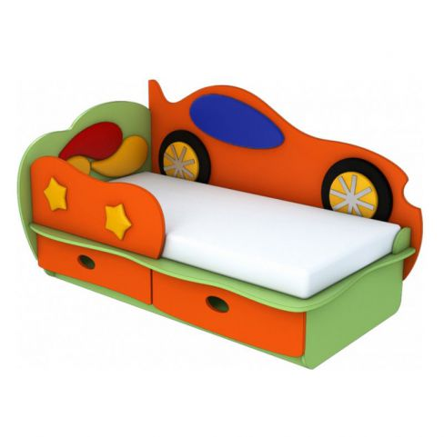 детская кровать машинка 160 с бортиком облачко лунная сказка